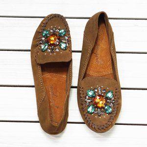 Free People Embellished Loafer Moccasins Brown 7